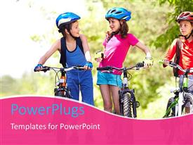 PowerPlugs: PowerPoint template with three little children dressed in cycling kits with their bikes
