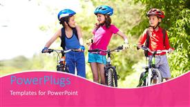 PowerPoint template displaying three little children dressed in cycling kits with their bikes