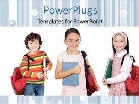 PowerPlugs: PowerPoint template with three little kids with backpacks dressed for school on white background