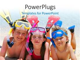 PowerPlugs: PowerPoint template with three little kids dressed in snorkeling kit lay in beach sand