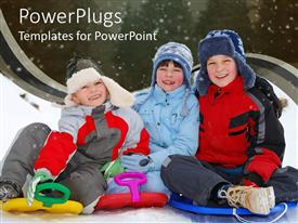PowerPlugs: PowerPoint template with three little kids dressed up in thick sweaters smiling and playing under snow