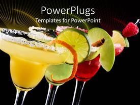 PowerPlugs: PowerPoint template with three Margaritas, apple, orange and raspberry in black background