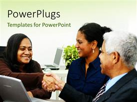 PowerPlugs: PowerPoint template with three matured business people having a meeting and shaking hands