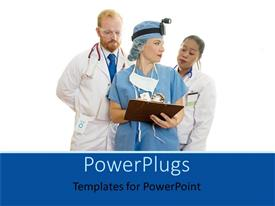 PowerPlugs: PowerPoint template with three medical doctors looking over a patients medical record