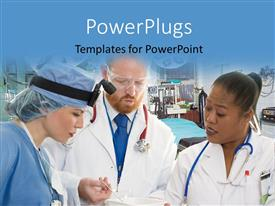 PowerPlugs: PowerPoint template with three medical people in their outfits looking at  report