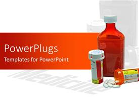 PowerPlugs: PowerPoint template with three medicine bottles, one overturned and spilling tablets on white background
