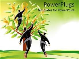 PowerPlugs: PowerPoint template with three men picking dollar signs from tree