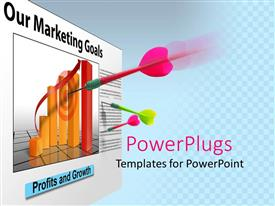 PowerPlugs: PowerPoint template with three multi colored darts on a bar chart target