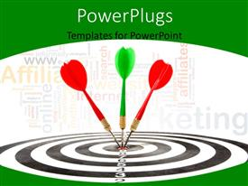 PowerPlugs: PowerPoint template with three multi colored darts hitting the middle of a dart board