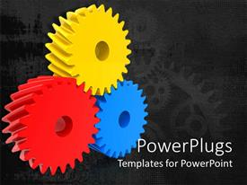 PowerPlugs: PowerPoint template with three multi colored gears on a black colored background