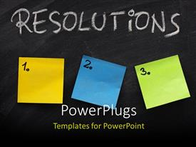 PowerPlugs: PowerPoint template with three numbered sticky notes on Resolutions blackboard