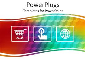 PowerPoint template displaying three online shopping depictions depicting shopping cart, finger pointing a button and shopping icon on rainbow colored band on white background