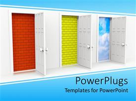 PowerPoint template displaying three open doors leading to orange brick, yellow brick and cloudy sky