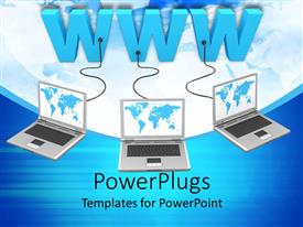 PowerPoint template displaying three open laptops limked to a text which spells ot