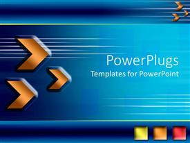 PowerPlugs: PowerPoint template with three orange arrow heads depicting motion and three green, orange and red squares