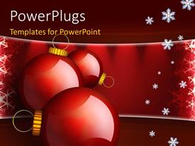 PowerPlugs: PowerPoint template with three ornaments with snow flakes over red background