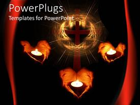 PowerPlugs: PowerPoint template with three pairs of heart shaped hands holding candles with a cross