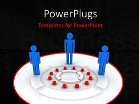 PowerPlugs: PowerPoint template with three people with a blackish background and place for text