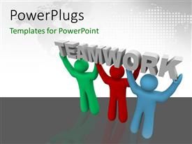 PowerPlugs: PowerPoint template with three people carrying the word teamwork with map in the background