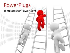 PowerPlugs: PowerPoint template with three people climbing the ladders with white background