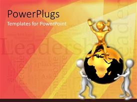 PowerPlugs: PowerPoint template with three people with the globe and words in the background