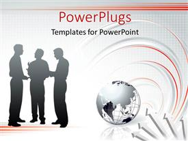 PowerPlugs: PowerPoint template with three people having a discussion with an earth globe