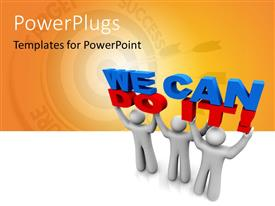 PowerPlugs: PowerPoint template with three people holding the words we can do it with yellowish background