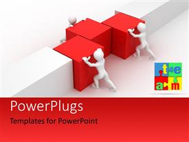 PowerPlugs: PowerPoint template with three people pushing the boxes with white background