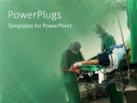 PowerPlugs: PowerPoint template with three people putting on surgical outfits performing an operation