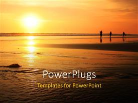 PowerPoint template displaying three people standing on Bali beach with beautiful sunset in horizon