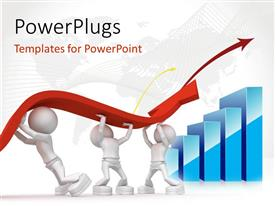 PowerPlugs: PowerPoint template with three people trying to hold the growth sign