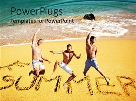 PowerPlugs: PowerPoint template with three persons jumping in the air with sea in the background