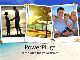PowerPoint template displaying three pictures showing a beach, family, and two lovers