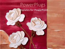 PowerPlugs: PowerPoint template with three pink and red roses on a red colored background