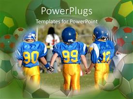 PowerPlugs: PowerPoint template with three players in a team hold hands in a football game