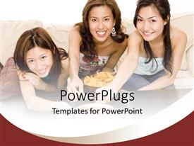 PowerPlugs: PowerPoint template with three pretty dark haired ladies smiling and eating chips