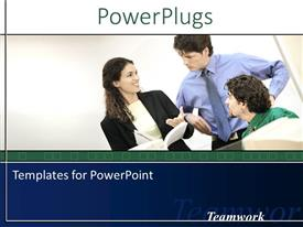 PowerPlugs: PowerPoint template with three professionals with white background and place for text