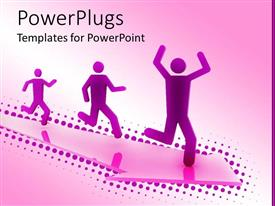 PowerPlugs: PowerPoint template with three purple figures running on arrow
