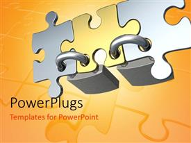 PowerPlugs: PowerPoint template with three puzzle pieces locked together with yellowish background