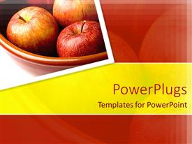 PowerPlugs: PowerPoint template with three red apples in a large brown bowl on a white surface
