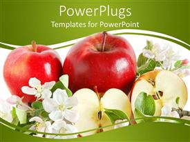 PowerPlugs: PowerPoint template with three red apples, one cut in half, surrounded with white flowers and green leaves