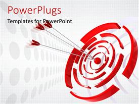 PowerPlugs: PowerPoint template with three red dart hitting the Bulls eye of a red and white target