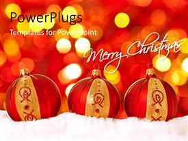PowerPoint template displaying three red and gold colored christmas balls with lights