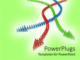 PowerPlugs: PowerPoint template with three red, green and blue colored arrows on a green background