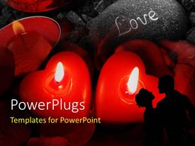 PowerPlugs: PowerPoint template with three red heart shaped lighted candles burning with love engraved on stone