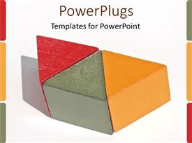 PowerPlugs: PowerPoint template with three red, orande and grey colored triangles joined together