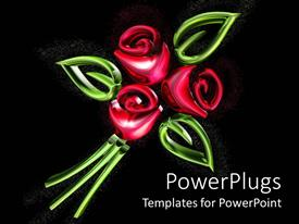 PowerPlugs: PowerPoint template with three red roses with three leaves