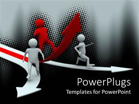 PowerPoint template displaying three red and white animated human figures running on arrows
