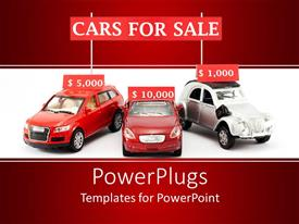 PowerPoint template displaying three red and white cars with price tags on them