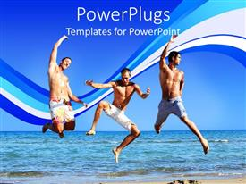 PowerPoint template displaying three ripped men jumping on beach sand